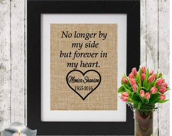 No longer by my side but forever in my heart - Personalized Bereavement Gift on Burlap - Sympathy/Condolence Gift -  Loss of a mother/father
