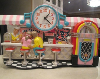Vintage Soda Pop Fountain Ice Cream Shop Diner Wall Clock