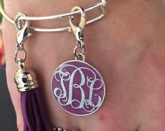 Monogram charm bangle bracelet