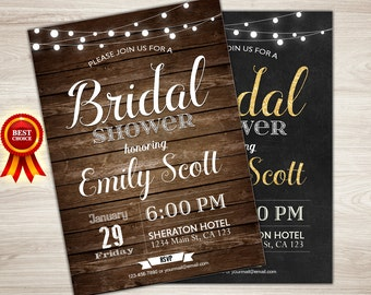 Bridal Shower Invitation Rustic Printable Bridal Shower Invitation Gold Chalkboard Wedding Shower Invite String Lights Bridal Shower Invite