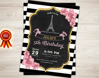 Paris Birthday Invitation. Printable Paris Invitation. 5th Birthday Invitation. Eiffel Tower Invitation. Oh la la. French Paris theme party