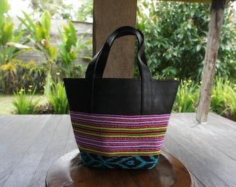 Soft sheep leather + EastTimor ikat small tote bag