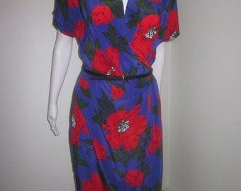 100% Silk 80's Wrap Dress from Liz Claiborne