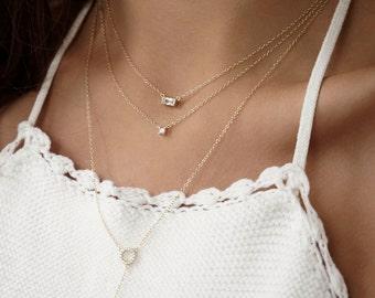 Tiny Square zircon necklace - Delicate necklace - Minimal necklace -Dainty Necklace - Dainty Jewelry - Minimal Jewelry