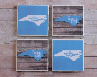 North Carolina Coasters, Tar Heel Coasters, North Carolina Tar Heels Coasters, University of North Carolina, Coasters, Coaster, UNC Coasters