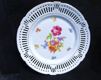 "Vintage Schumann Bavaria. Germany ""Reticulated-Hand Painted Floral "" Collector Plate"