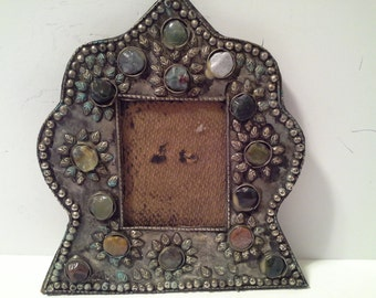 India inlaid stone picture frame, with glass