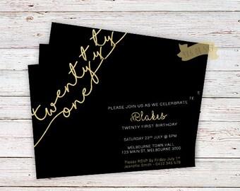 21st Birthday Gold Glitter Invitation,twenty first birthday, adults invitations, Gold 21, Elegant Invitation,Milestone Invitation,twenty one