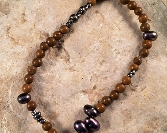 Jasper and Grey Baroque Pearl Bracelet
