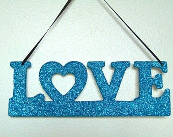 Love Blue Glittery Decorative Hanging Sign Wedding/Home/Decor