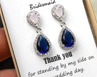 Blush pink navy blue  silver Wedding Jewelry Bridesmaid Gift Bridesmaid Jewelry Bridal Jewelry earring Drop dangle Earring,bridesmaid gift