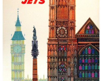 Vintage London TWA Travel Poster Print