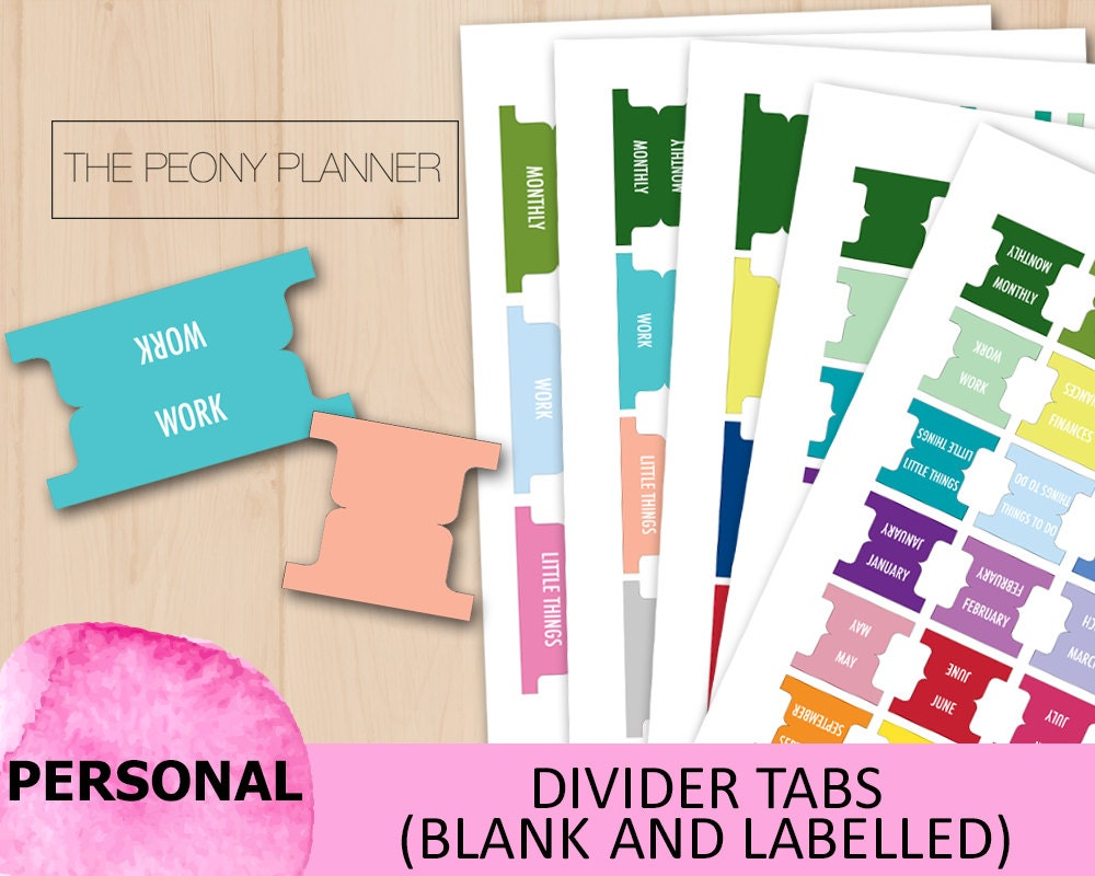 Printable Divider Tabs Stickers, Labels | Personal Size ...