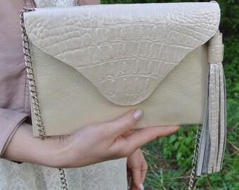 Big geniune leather CHAMPAIGN envelope sholder bag / clutch / handbag