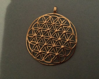 Hand crafted brass Flower of life pendant one of a kind