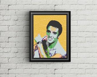 SALE 50% Elvis Presley Wall Art, Elvis Presley Poster, Rock n Roll Art Decor, Elvis Presley Gift, Elvis Print, Super Star Pop Art Poster