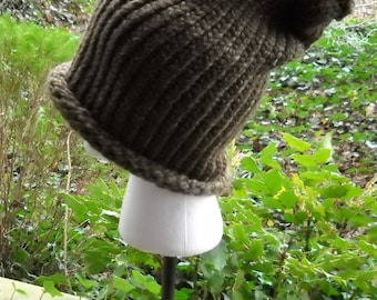 Slouchy Turk Knitted Hat, Brown