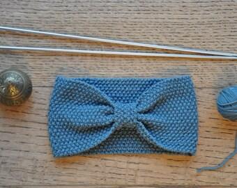 Bandeau laine mérinos 100% naturelle bleu charon 10cm