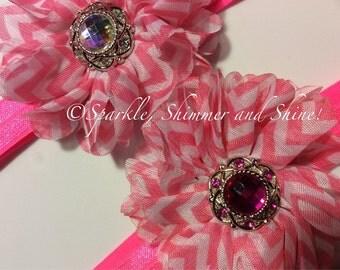 Hot Pink Embellished Elastic Headband