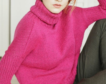 Hipster Sweater | Purple Sweater | Violet Sweater | Pink Sweater | Alpaca Wool Sweater | High Neck Sweater | Hand Knit Sweater