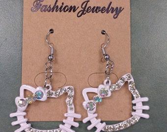 White Kitty Earrings
