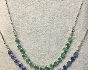 Teal or Blue Porcelain Bead Necklace with Silver Alloy Chain
