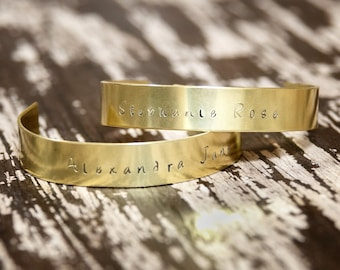Women's Brass Cuff Bracelet, Personalized Brass Bracelet, Hand-Stamped Brass Cuff Bracelet, Gift under 20, Gift for her, Design your Own