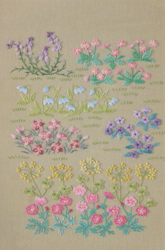 Pdf pattern tutorial hand embroidery stitch my garden 002 for Garden embroidery designs free