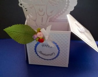 beautiful Handmade Wedding Anniversary pop up greetings card