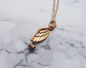 Winged Heart Necklace / Gold Wing & Heart Necklace / Dainty Layering Gold filled Necklace