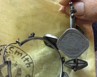 Stunning silver vintage coin hoop earrings