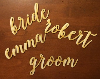 Custom wood laser cut name plates (eascort cards / place settings) - 10 names Font #2