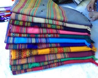 wool & cotton mix shawl w/ embroidary