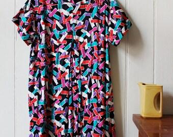 Vintage 1980's Streamer pattern dress - Large / Xlarge