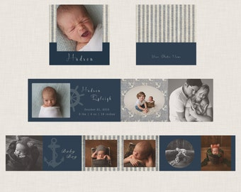Nautical - 3x3 Mini Accordion Album, WHCC, Template, Baby Boy, Newborn Photographer
