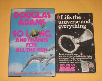 So Long and Thanks for All the Fish / Life the Universe and Everything by Douglas Adams classic vintage scifi hardback paperback