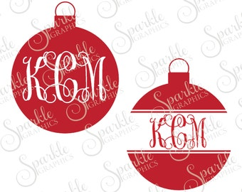 Ornament Monogram Cut File Christmas SVG Holiday Monogram Frame Clipart Svg Dxf Eps Png Silhouette Cricut Cut File Commercial Use