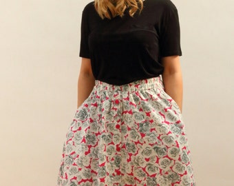 1980's Button up Flowery Midi Skirt