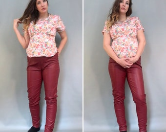 80s Summer Maternity Work Top, Vintage Maternity Floral Blouse, Collared Maternity Top, Short Sleeve Blouse, VTG Pregnancy Blouse, Small
