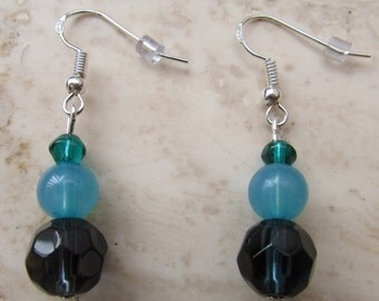Blue and turquoise beaded earrings