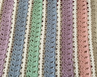 Crocheted Stripe Baby Blanket/Baby Gift/Baby Shower