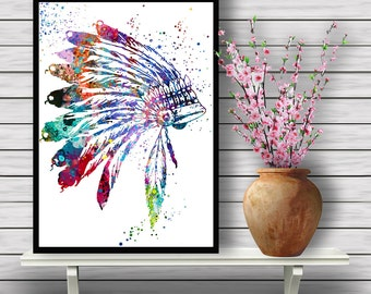 Native American Headdress inspired, Indian Chief accessory,watercolor poster, feathers, tribe, art watercolor, home decor, gift print (04)