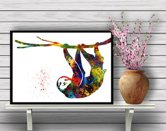 Sloth Hanging form a Branch, animal, watercolor poster, home decor, watercolor painting,Colorful, gift, Instant Download