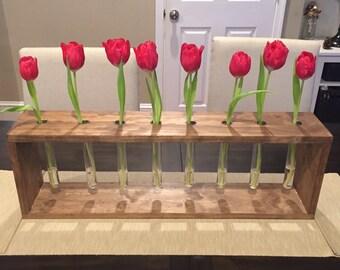 Wood and Test Tube Vase