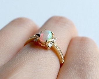 multistone opal ring in 18k gold or rose gold by a cup of ring engagement - Nontraditional Wedding Rings