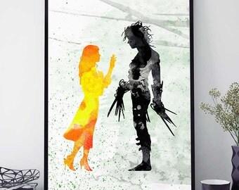 Edward Scissorhands Print, Tim Burton Poster, Edward Scissorhands Poster, Watercolor Print, Birthday Gift (N443)
