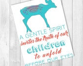 ON SALE :  Mandala Deer Quote Poster, Gentle Parenting Printable, Parenthood Instant Download
