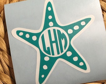 Starfish Monogrammed Vinyl Decal