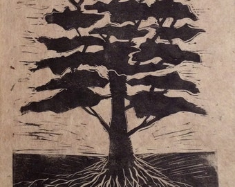 original limited edition linocut print of tree