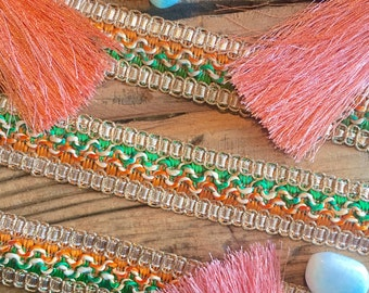Green, Orange and Gold fabric trim, ribbon trim, fabric trims, sewing materials, sewing notions, indian lace, bridal trims, gold beaded trim